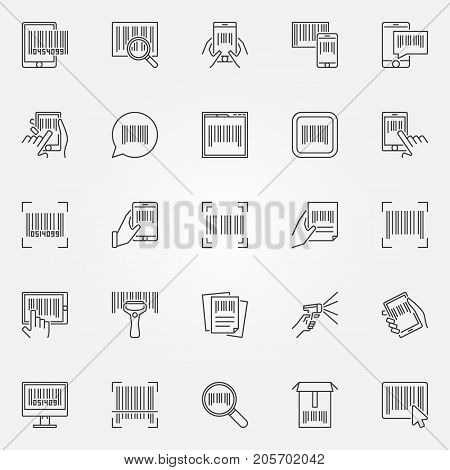 Barcode icons set - vector barcodes concept symbols or design elements in thin line style