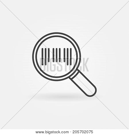 Barcode in magnifying glass icon or symbol in thin line style
