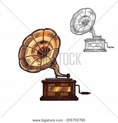 Gramophone phonograph old retro music player or musical instrument sketch icon. Vector isolated vintage turntable talking machine for classic music concert design or orchestra jazz festival label