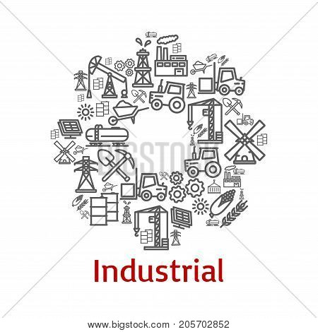 Industrial cogwheel poster or symbol of farm agriculture, heavy industry or machinery outline icons. Vector tractor, wheat or electricity pole and windmill, oil tank or plant and construction winch