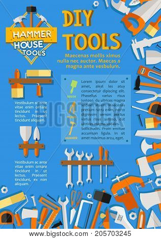 House construction or home repair poster of work tools for woodwork, carpentry and house renovation or decor design. Vector DIY handyman toolbox of grinder, hammer or plaster trowel and paint brush