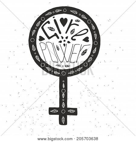 Girl power lettering. Stock vector illustration of hand drawn phrase quote for woman rights and feminism protest campaign.