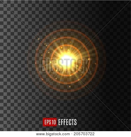 Light flash beams with lens flare effect of glittering sunlight or star light and sparkling rays. Twinkling starlight with radial gleaming solar burst. Vector isolated icon on transparent background