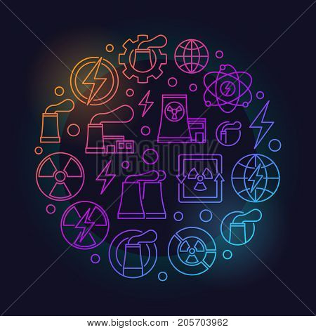 Nuclear power outline colorful illustration. Vector nuclear energy symbol made with linear icons on dark background