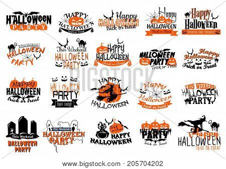 Happy Halloween icons set for party or holiday greeting card. Vector set of orange Halloween pumpkin lantern, ghost or zombie and vampire, witch at haunted graveyard, skeleton skull and coffin