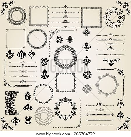 Vintage set of classic elements. Different elements for decoration and design frames, cards, menus, backgrounds and monograms. Classic patterns. Set of vintage patterns
