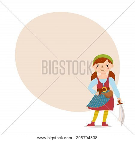 Little pirate girl in bandana and striped yellow tights holding cutlass with place for text, cartoon vector illustration isolated on white background. Kid, girl in pirate costume standing with sword