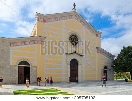 SHKODER ALBANIA - SEPTEMBER 6 2017: Unknown people are near Cathedral of St. Stephen (Franciscan Church of Ruga-Ndre-Mdzheda) Shkoder Albania