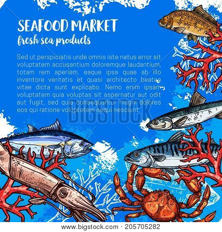 Seafood market products poster sketch. Vector sea fish food of fresh fisher catch squid, tuna or octopus and prawn shrimp, lobster crab or flounder and salmon, ocean trout with spats and herring