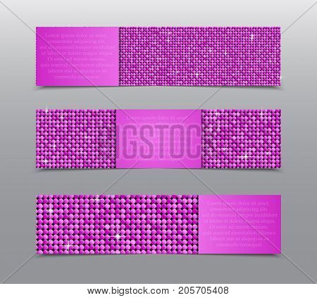 Horizontal Set of Pink Sequins Banners Template for Business Design, Infographics. Pink Mosaic, Sequins, Glitter, Sparkle, Stars. Vector Illustration. Card Brochure Business Card Probe.