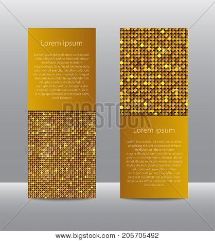 Vertical Set of Gold Sequins Banners Template for Business Design, Infographics. Golden Mosaic, Sequins, Glitter, Sparkle, Stars. Vector Illustration. Card Brochure Business Card Probe.