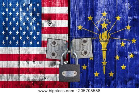 US and Indiana flag on door with padlock