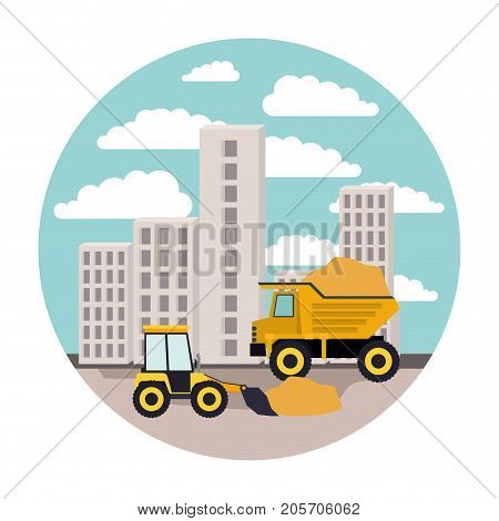 building set city landscape construction with dump truck and bulldozer in circular shape colorful silhouette vector illustration