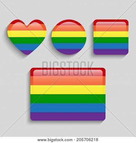 LGBT Pride Flag in Vector Format. Rainbow Flag. Pride Symbol - Heart, Circle, Sequin and Rectangle. Vector Illustration for Your Design.