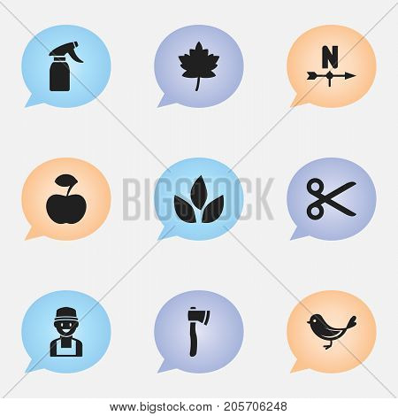 Set Of 9 Editable Gardening Icons. Includes Symbols Such As Leaf, Farmer, Breeze Direction And More