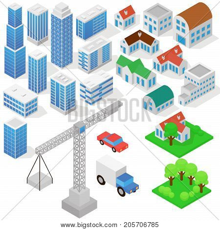 Industrial based on isometric projection of a three-dimensional houses, buildings, cranes, cars and other design elements necessary creative designers for web projects vector illustration in flat style