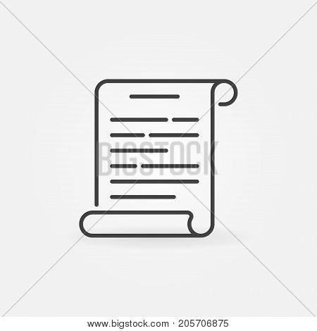 Scroll outline icon - vector paper scroll concept symbol or design element in thin line style