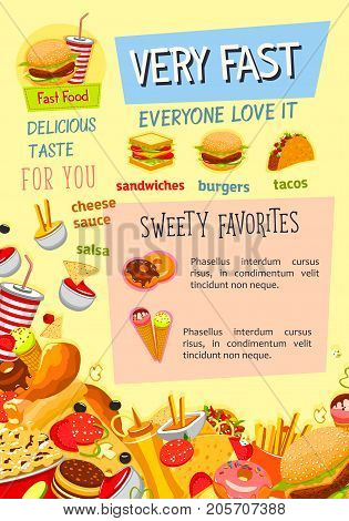 Fast food poster template for fastfood restaurant menu. Vector snacks, cheeseburger burger or hotdog sandwich and french fries, pizza or chicken grill and coffee or soda drinks with popcorn desserts