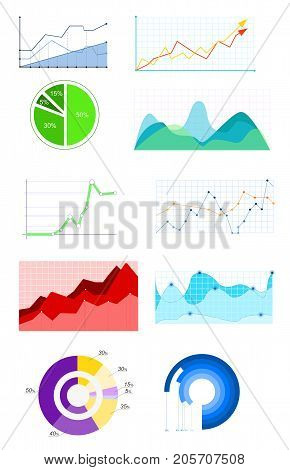 Vector illustration of Infographics Template. Set of graphic design elements histogram, arc and diagram, radial bar, bubble, span in flat style
