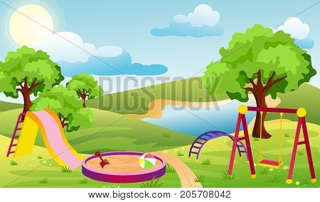 Vector illustration of kids playground. Set of elements to create urban background, park landscape in cartoon flat style