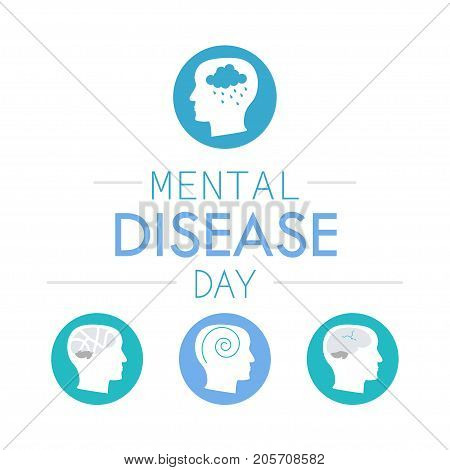 Mental disease day on 10 October. Stock vector illustration of a human profile with different brain diseases.