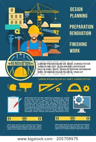 Home planning design and house construction poster. Vector design of engineering and interior designing work tools and building engineer with ruler, pencil or room layout drawing and architecture plan
