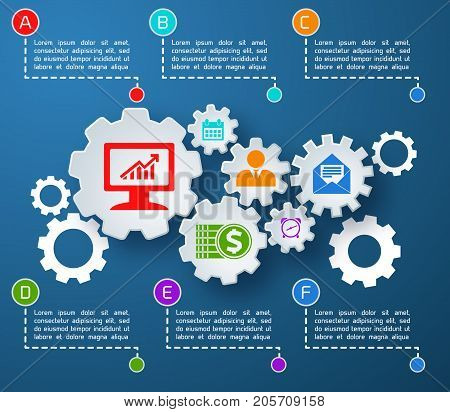 Abstract business infographics with text mechanical paper gears colorful icons six options on blue background vector illustration