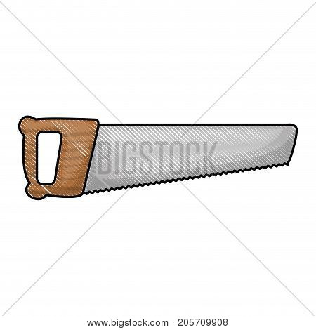 hand saw icon in colored crayon silhouette vector illustration