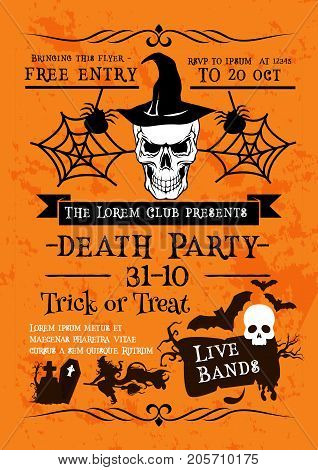 Halloween holiday horror party poster of skull in witch hat. Spooky skeleton with flying bat, witch and spider web invitation flyer and greeting banner for Halloween celebration design