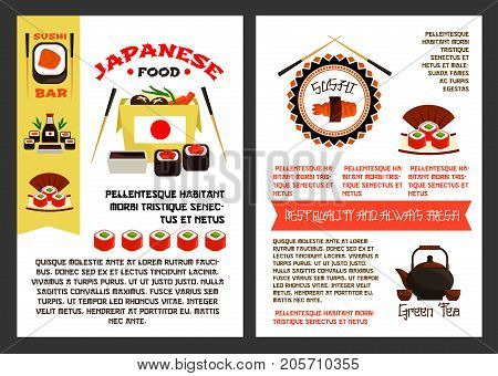 Japanese food or sushi reataurant posters templates set for menu. Vector Asian cuisine design of fish sushi rolls, tuna sashimi or eel unagi maki and rice, chopsticks and green tea pot