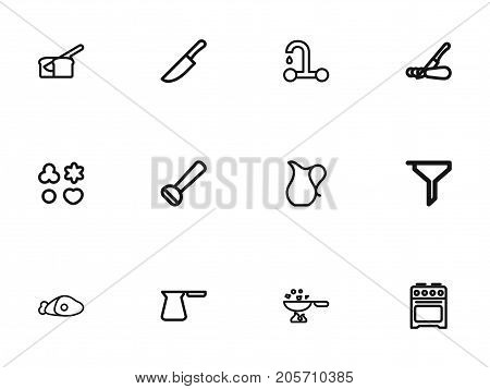 Set Of 12 Editable Cook Outline Icons. Includes Symbols Such As Potato Peeler, Plate, Jug And More