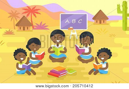 African children read and sit in circle with blackboard and chalk behind outdoor in village with small houses vector illustration.