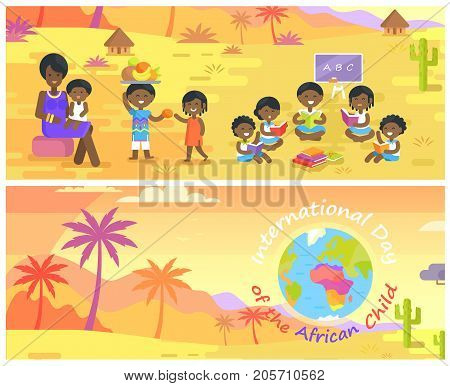 International Day of African Child banners set with mother and children, and landscape with palms and Earth icon vector illustrations.