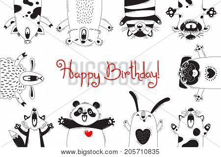 Birthday Card with Funny Animals Pig Bear Fox Sheep Cat Pug Panda Rabbit. Vector illustration.