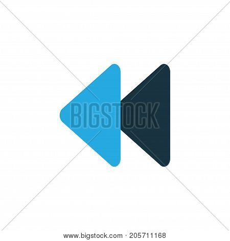Premium Quality Isolated Backward Element In Trendy Style.  Rewind Colorful Icon Symbol.