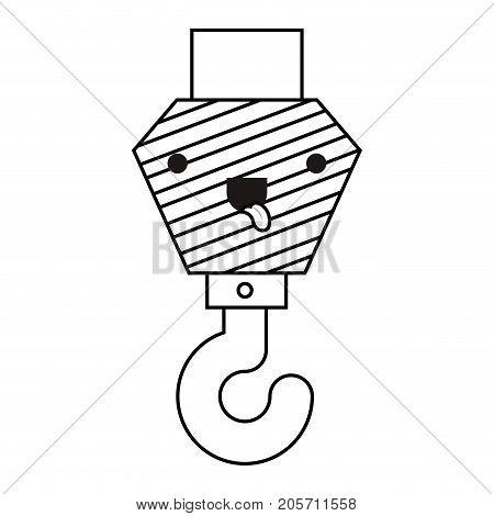 crane hook flat icon monochrome kawaii silhouette vector illustration