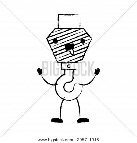 crane hook flat icon monochrome cartoon blurred silhouette vector illustration