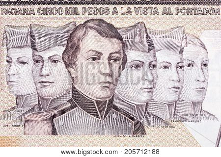 Boy Heroes portraits from Mexican money - Pesos