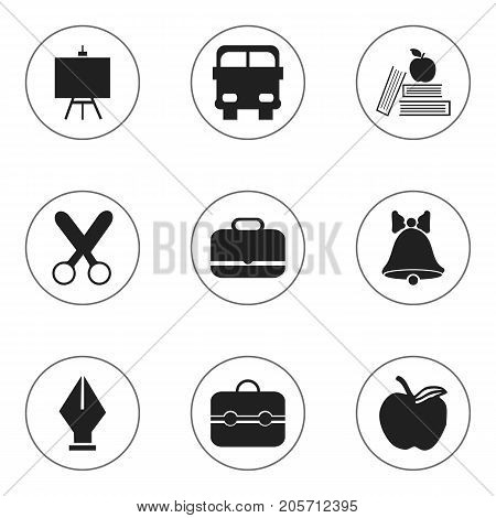 Set Of 9 Editable Education Icons. Includes Symbols Such As Jingle, Painter's Stand, Textbook
