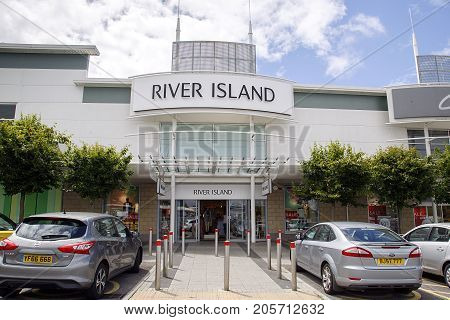 Swansea, UK: July 09, 2017: A branch of River Island. The chain retails affordable fashion and has 300 stores across the UK, Ireland and internationally.