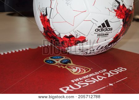 September 14 2017. Moscow Russia Official ball of the 2018 FIFA World Cup Adidas Krasava and a calendar with the symbols of the World Cup 2018