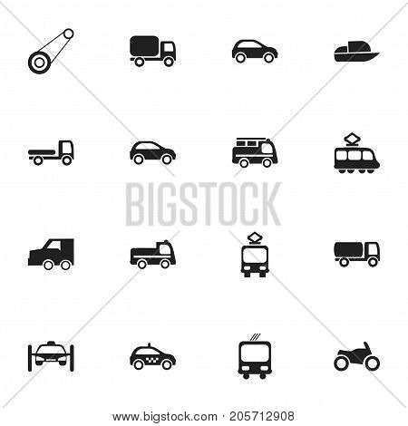 Set Of 16 Editable Transport Icons. Includes Symbols Such As Service Car, Transportation, Spyglass And More