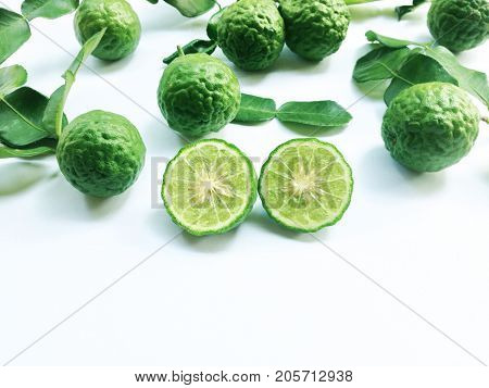 Kaffir Lime or Bergamot and Leaf on white background