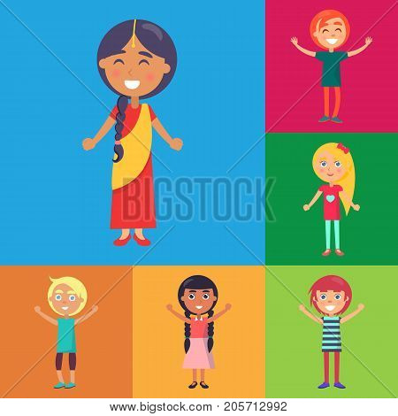 Indian girl in national dress and active and happy kids from various countries on colorful background vector poster. Childhood celebrating template