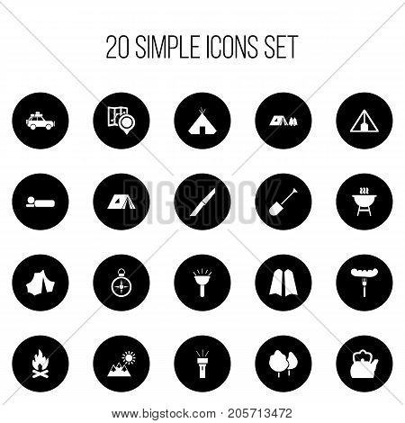 Set Of 20 Editable Travel Icons. Includes Symbols Such As Lantern, Pyramid, Bbq And More