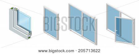 Isometric Cross section through a window pane PVC profile laminated wood grain, classic white. Set of Cross-section diagram of glazed windows