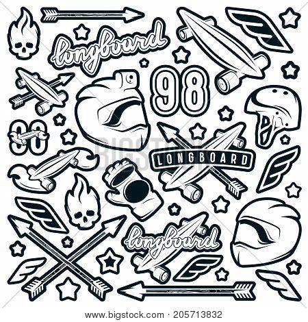Badge Set Of Longboarding Equipment