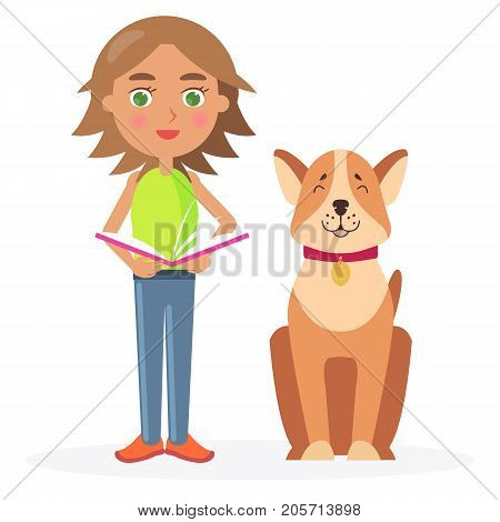 Girl with short hair stands with friendly dog Akita-inu and holds open schoolbook vector illustration on white background.