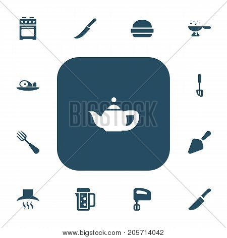 Set Of 13 Editable Food Icons. Includes Symbols Such As Cooking Pan, Fast Food, Food Shovel And More