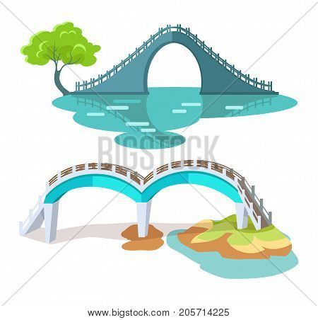 Bridges in Taiwanese style isolated on white vector flat illustration. Two architectural constructions for crossing rivers or lakes in round shape with stair and handles, with and without columns